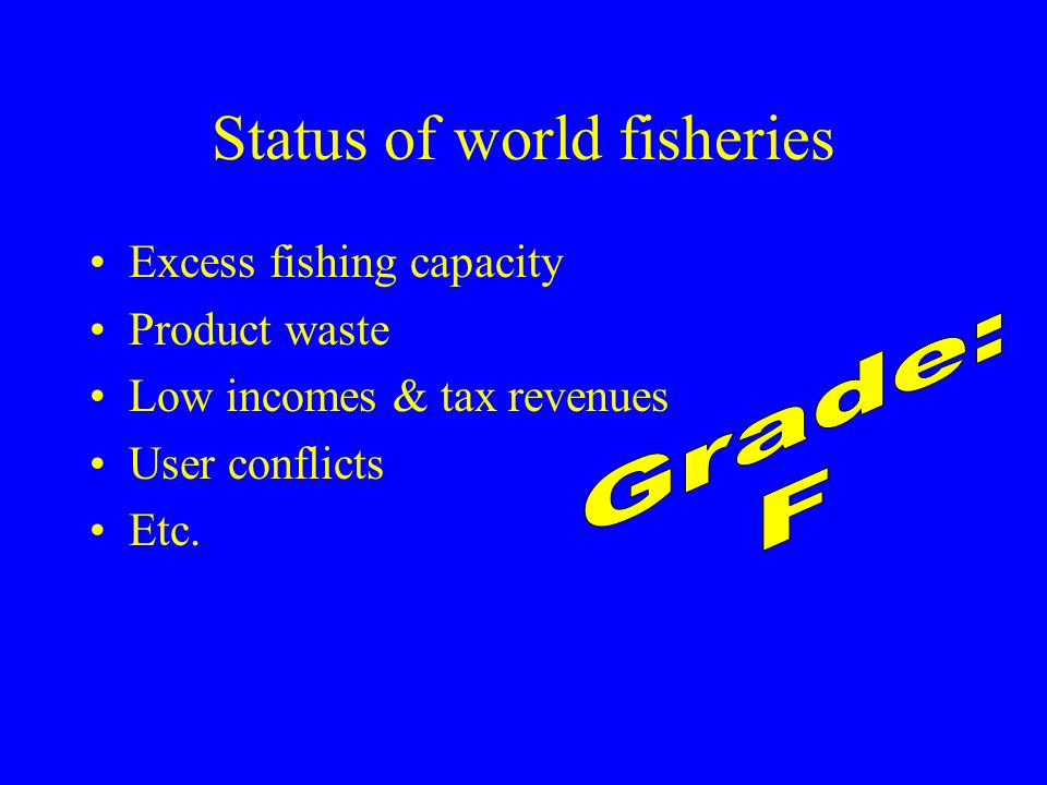 Status of world fisheries Excess fishing capacity Product waste Low incomes & tax revenues User conflicts Etc.