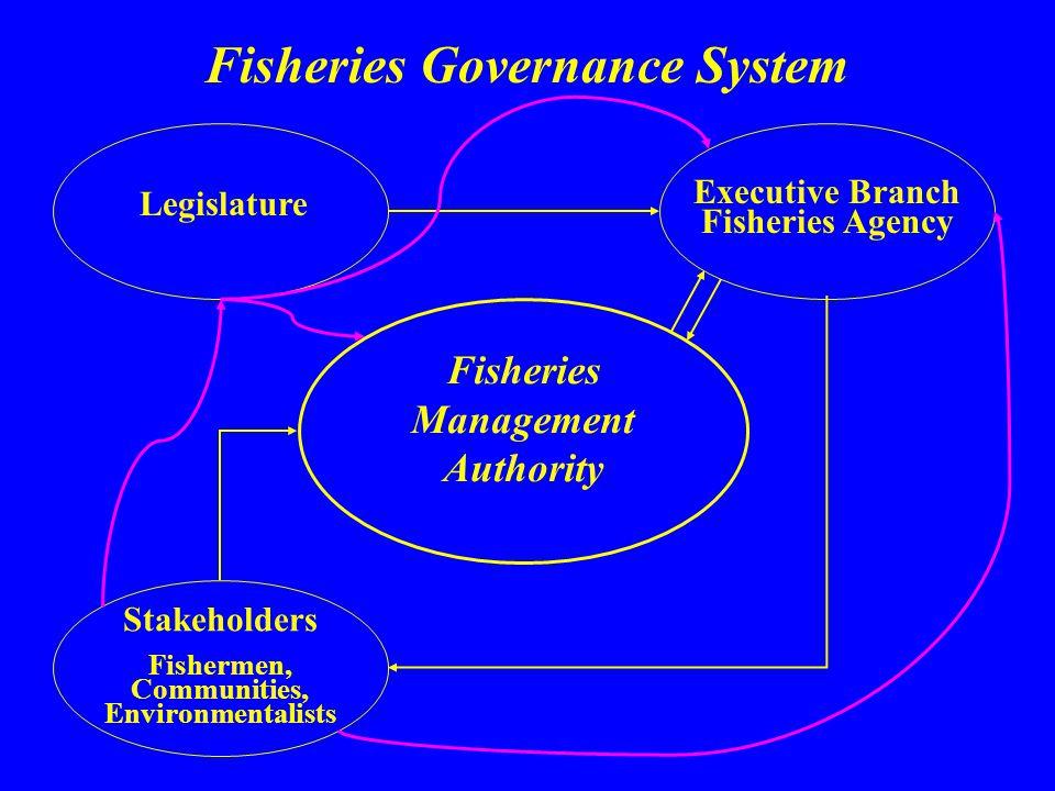 Legislature Executive Branch Fisheries Agency Fisheries Management Authority Stakeholders Fishermen, Communities, Environmentalists Fisheries Governan