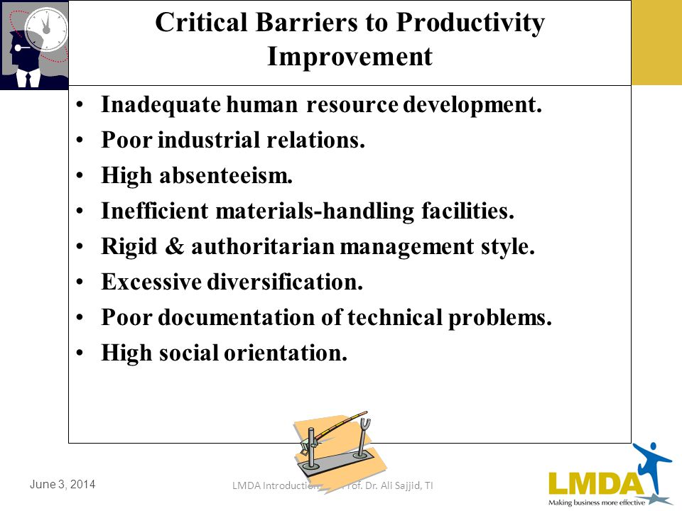 LMDA Introduction by Prof. Dr. Ali Sajjid, TI June 3, 2014 Critical Barriers to Productivity Improvement in any Project Too many hierarchical levels.
