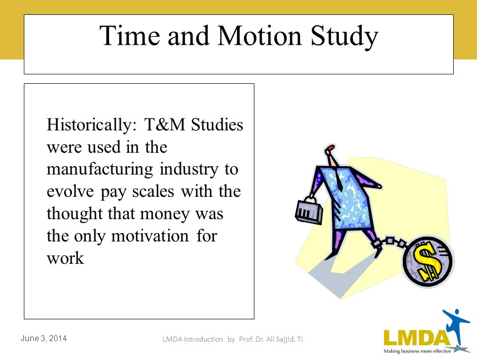 LMDA Introduction by Prof. Dr. Ali Sajjid, TI June 3, 2014 Time and Motion Study: History Frederick W. Taylor and his followers developed and refined