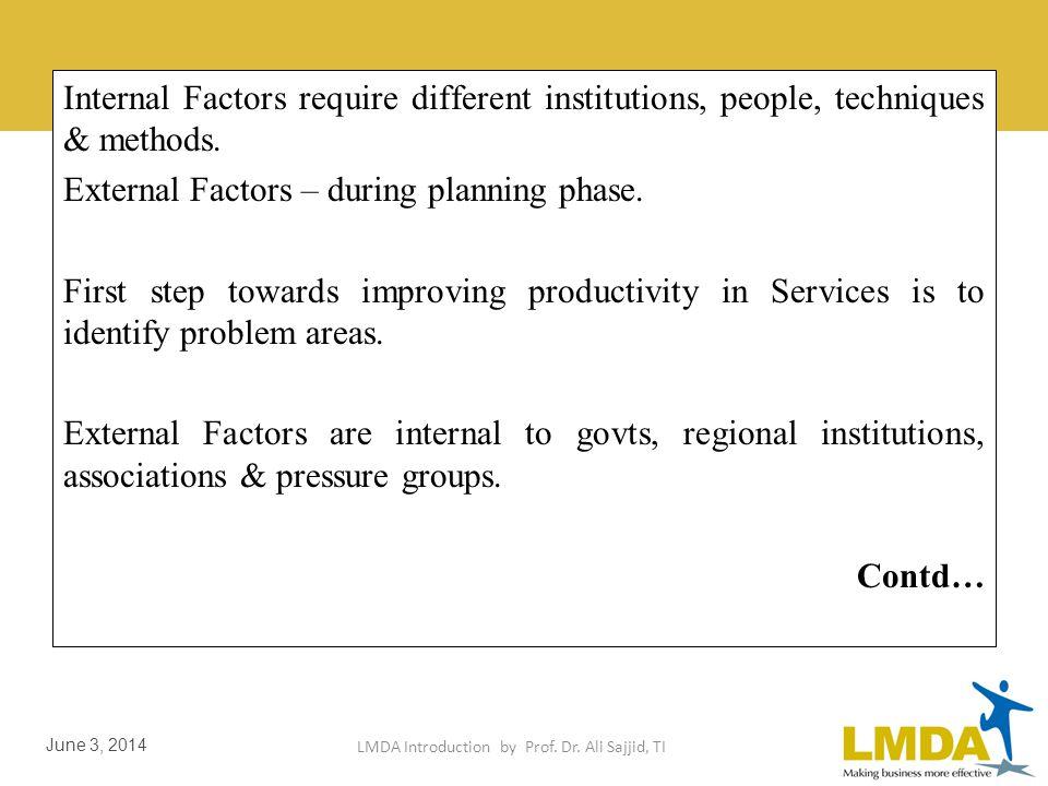 LMDA Introduction by Prof. Dr. Ali Sajjid, TI June 3, 2014 External Factors Affecting Enterprise Productivity External factors include government poli