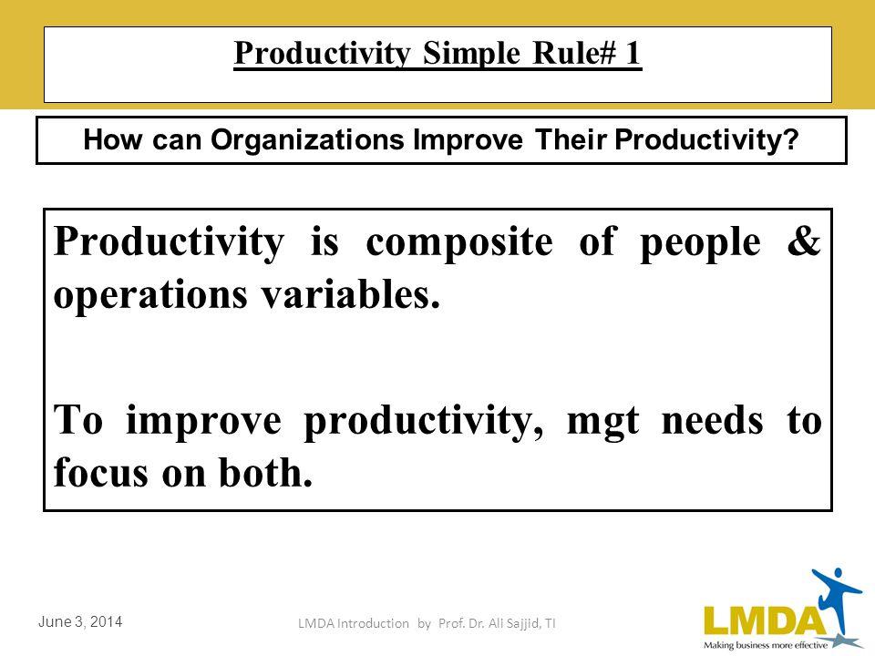 LMDA Introduction by Prof. Dr. Ali Sajjid, TI June 3, 2014 Model of Internal Productivity Factors Internal Productivity Factors Soft Factors Hard Fact