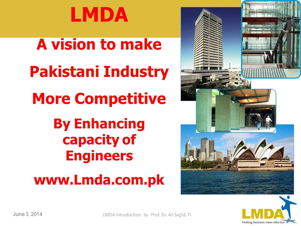 LMDA Introduction by Prof. Dr. Ali Sajjid, TI June 3, 2014 Productivity Engg & Management By Engr Dr. Ali Sajid Special Presentation for Pakistan Engi