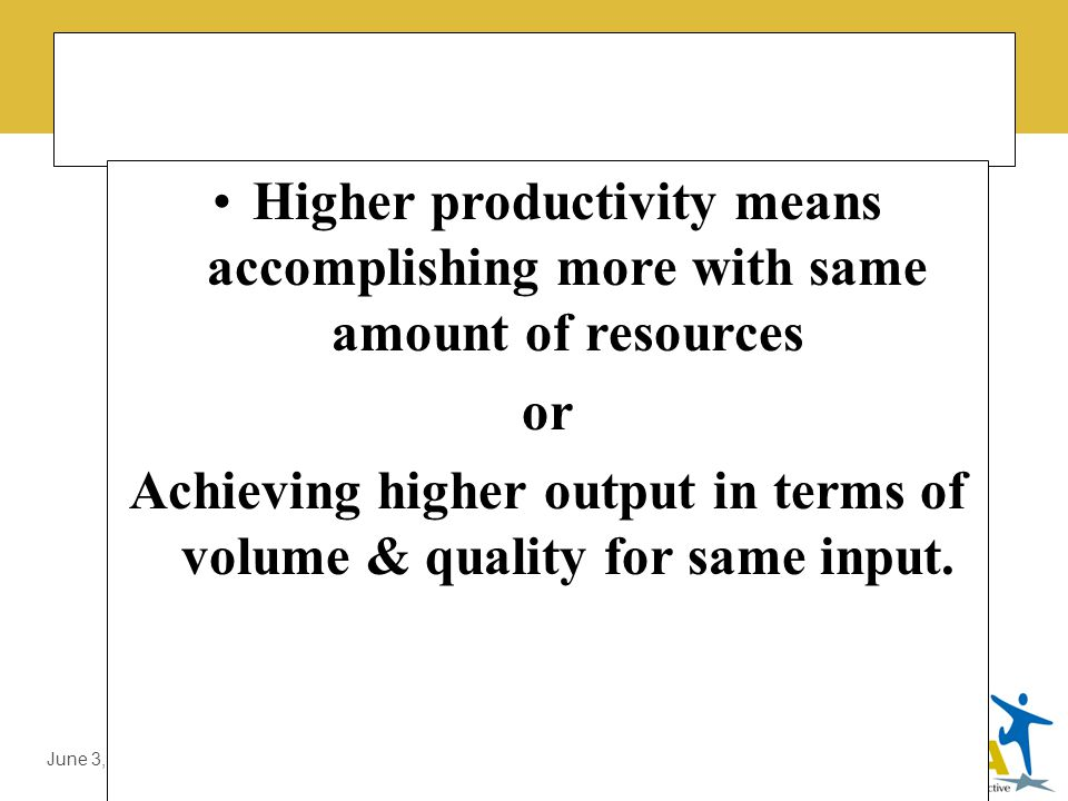 LMDA Introduction by Prof. Dr. Ali Sajjid, TI June 3, 2014 Difference b/w Production & Productivity Production is concerned with Activity of Producing