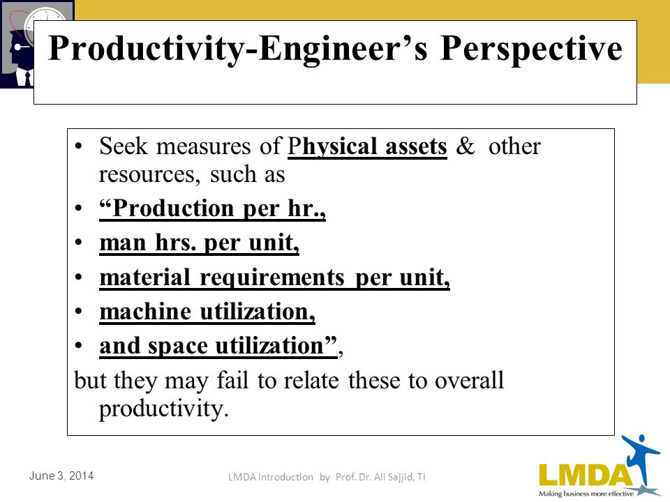 LMDA Introduction by Prof. Dr. Ali Sajjid, TI June 3, 2014 Productivity-Managers Perspective Use accounting ratios in achieving objectives of general