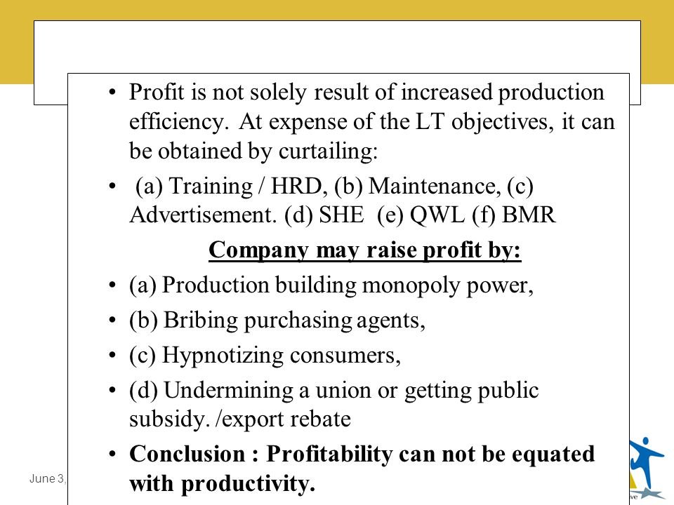 LMDA Introduction by Prof. Dr. Ali Sajjid, TI June 3, 2014 Misunderstanding about Productivity Myth # 1 Profitability is Measure of Productivity. Prof