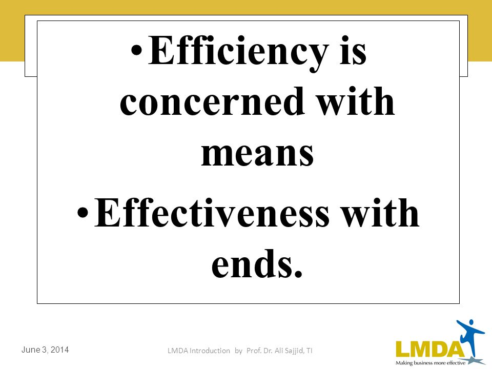 LMDA Introduction by Prof. Dr. Ali Sajjid, TI June 3, 2014 Definition of Effectiveness & Efficiency Productivity implies effectiveness & efficiency in