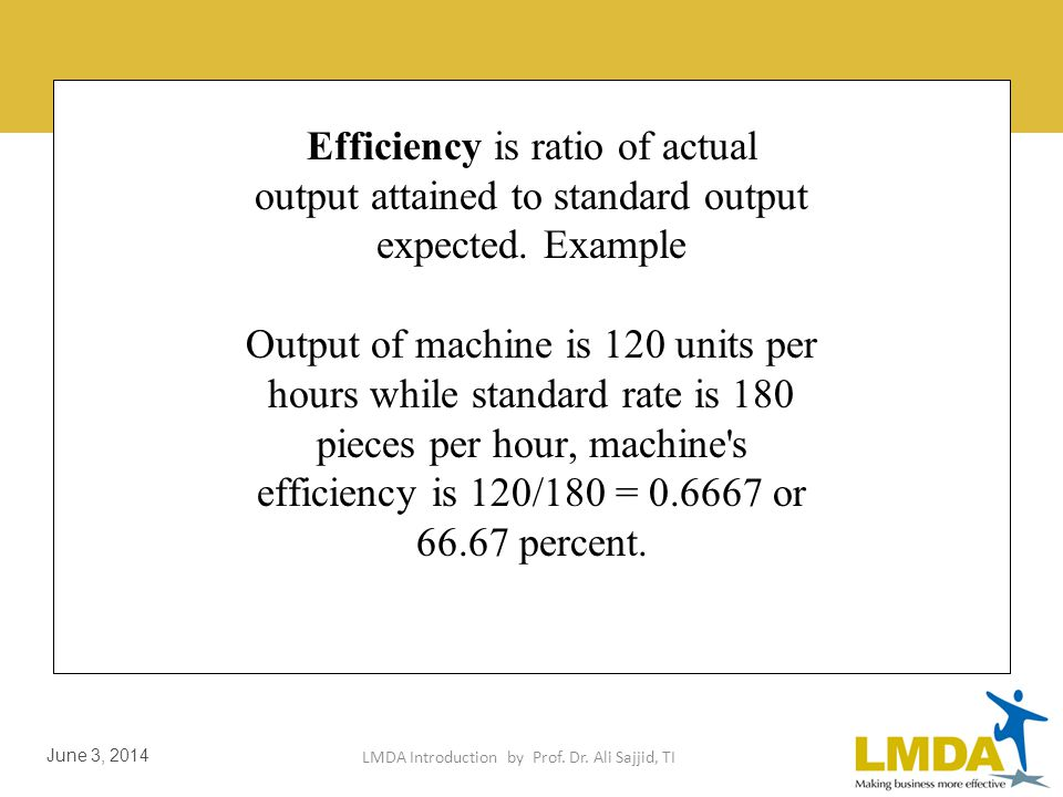 LMDA Introduction by Prof. Dr. Ali Sajjid, TI June 3, 2014 Efficiency is concerned with means Effectiveness with ends.