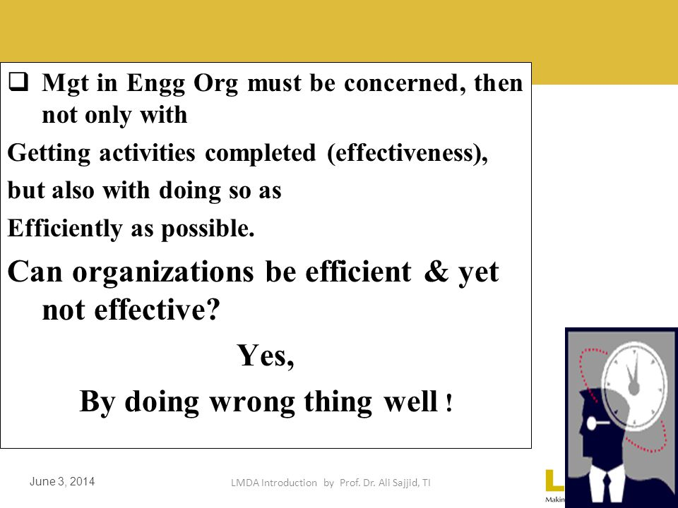 LMDA Introduction by Prof. Dr. Ali Sajjid, TI June 3, 2014 It is easier to be effective if one ignores efficiency. Some Production org- reasonably eff
