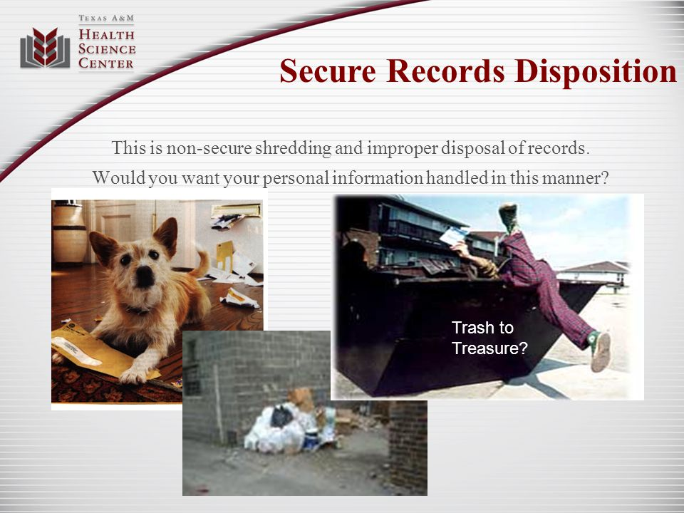 This is non-secure shredding and improper disposal of records. Would you want your personal information handled in this manner? Secure Records Disposi