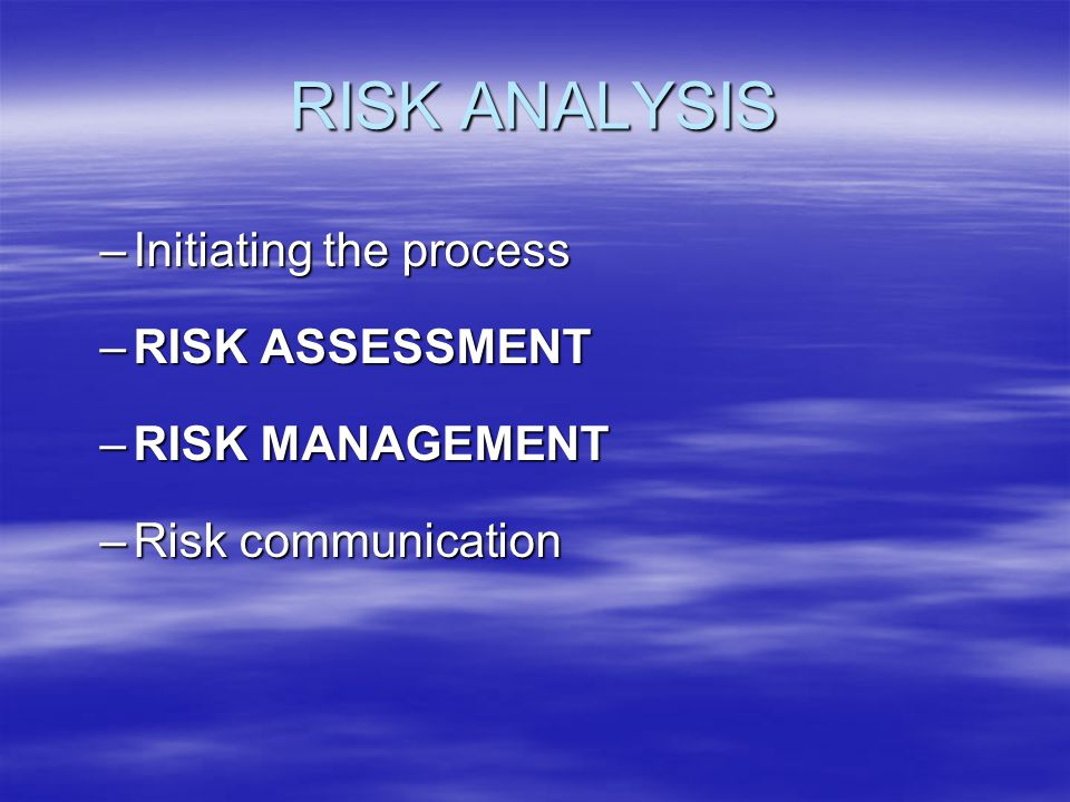 RISK ANALYSIS –Initiating the process –RISK ASSESSMENT –RISK MANAGEMENT –Risk communication