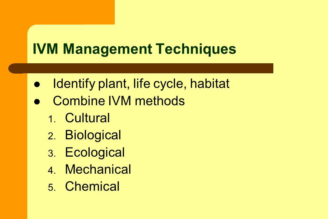 Identify plant, life cycle, habitat Combine IVM methods 1.