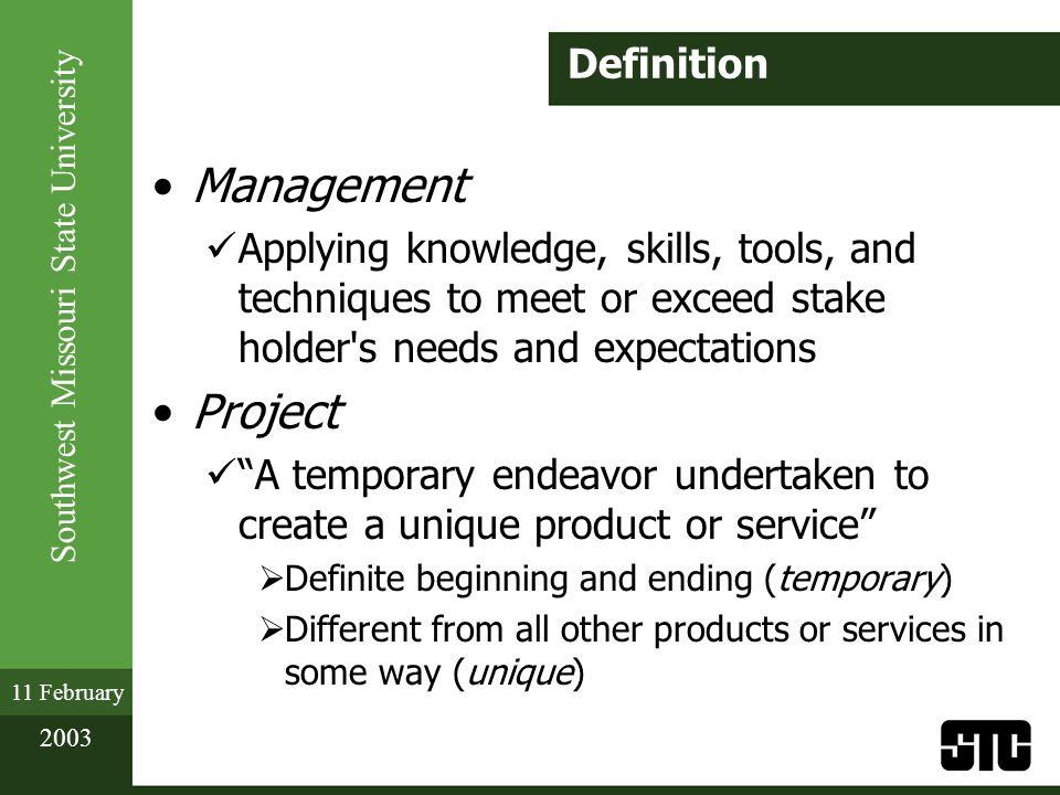Southwest Missouri State University 11 February 2003 Scope: Expert Input Managers from similar projects Other organizational personnel (purchasing, human resources, e.g.) Consultants Stakeholders Professional and technical associations Industry groups