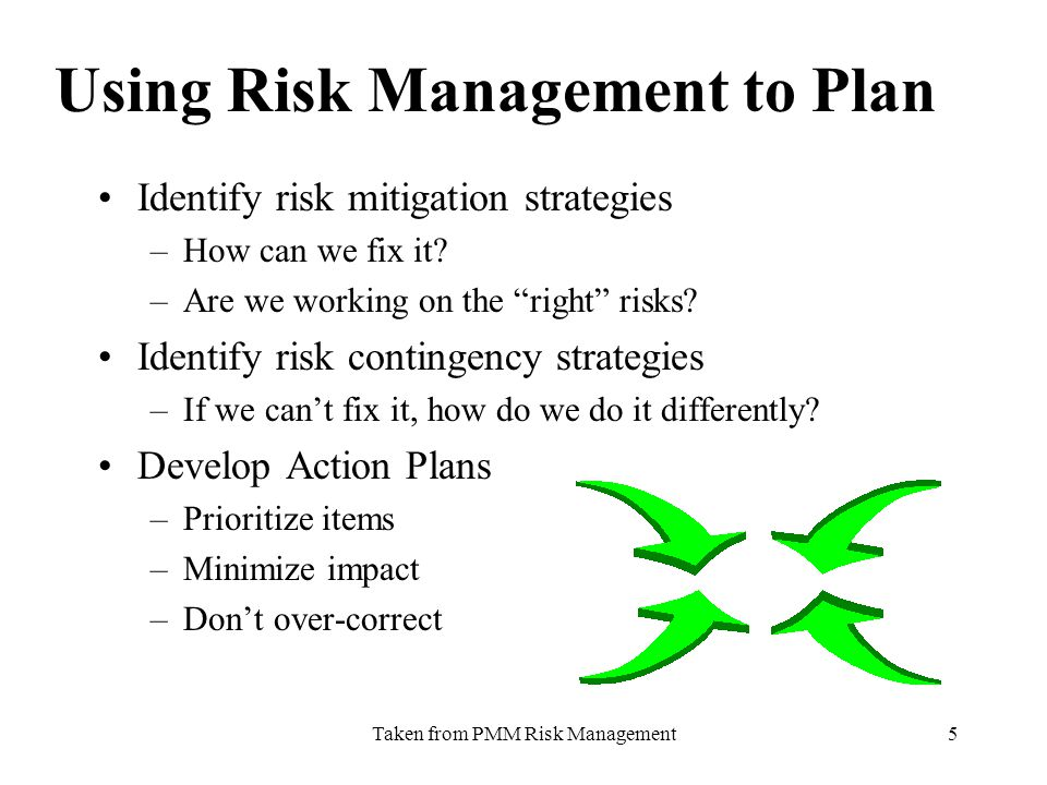 Taken from PMM Risk Management5 Using Risk Management to Plan Identify risk mitigation strategies –How can we fix it.