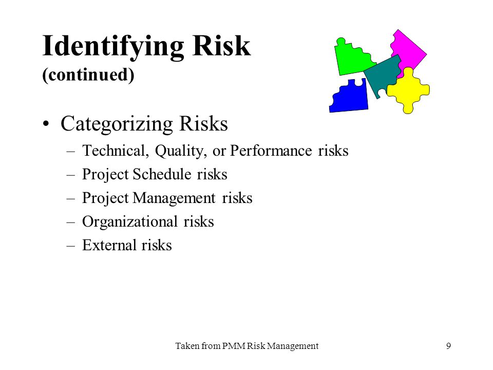 Taken from PMM Risk Management9 Identifying Risk (continued) Categorizing Risks –Technical, Quality, or Performance risks –Project Schedule risks –Project Management risks –Organizational risks –External risks