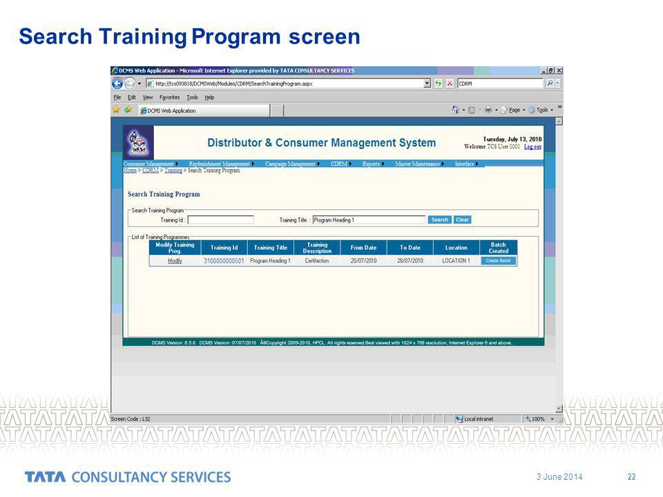 3 June 2014 22 Search Training Program screen