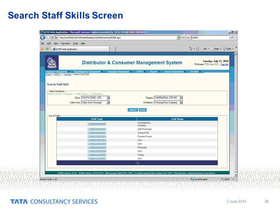 3 June 2014 26 Search Staff Skills Screen