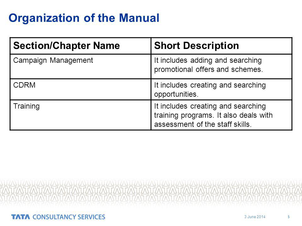 3 June 2014 5 Organization of the Manual Section/Chapter NameShort Description Campaign ManagementIt includes adding and searching promotional offers and schemes.