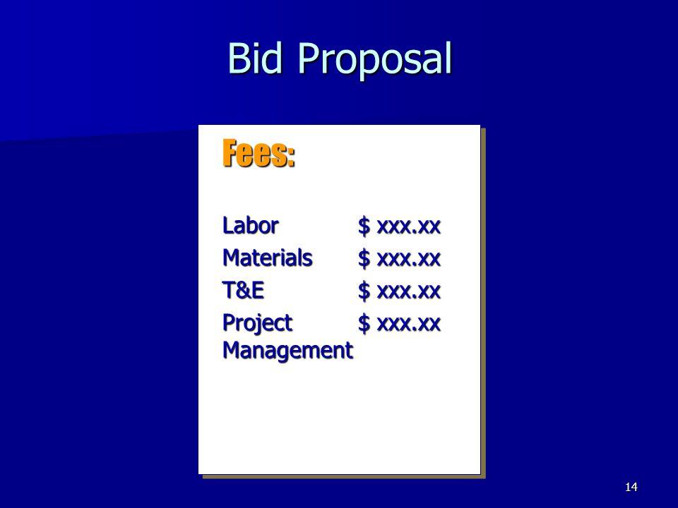14 Bid Proposal Fees: Labor$ xxx.xx Materials$ xxx.xx T&E$ xxx.xx Project $ xxx.xx Management