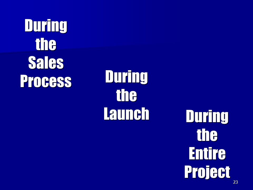 23 During the Sales Process During the Entire Project During the Launch