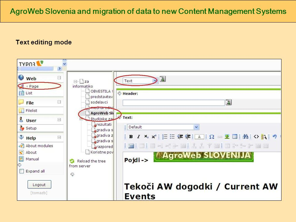AgroWeb Slovenia and migration of data to new Content Management Systems Text editing mode