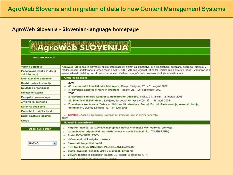 AgroWeb Slovenia - Slovenian-language homepage
