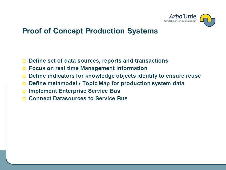 Proof of Concept Production Systems Define set of data sources, reports and transactions Focus on real time Management Information Define indicators for knowledge objects identity to ensure reuse Define metamodel / Topic Map for production system data Implement Enterprise Service Bus Connect Datasources to Service Bus
