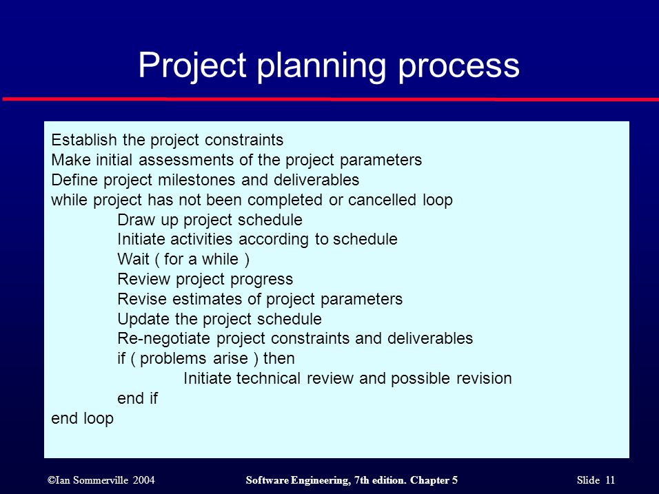 ©Ian Sommerville 2004Software Engineering, 7th edition. Chapter 5 Slide 11 Project planning process Establish the project constraints Make initial ass