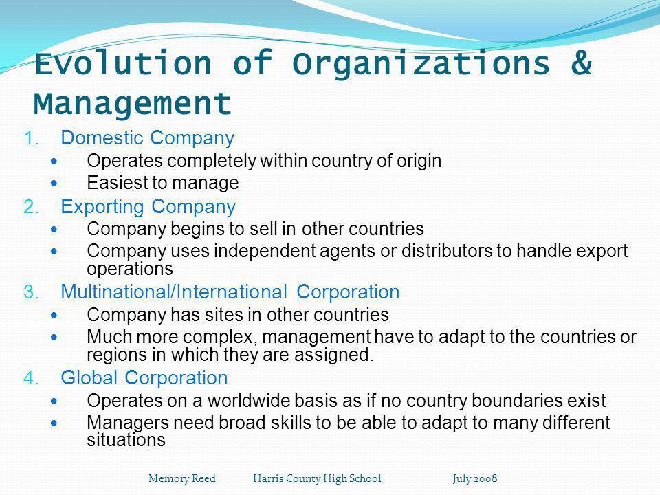 Evolution of Organizations & Management 1.