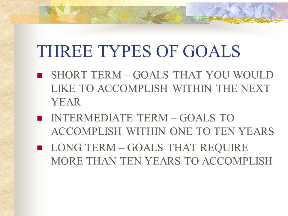 THREE TYPES OF GOALS SHORT TERM – GOALS THAT YOU WOULD LIKE TO ACCOMPLISH WITHIN THE NEXT YEAR INTERMEDIATE TERM – GOALS TO ACCOMPLISH WITHIN ONE TO T