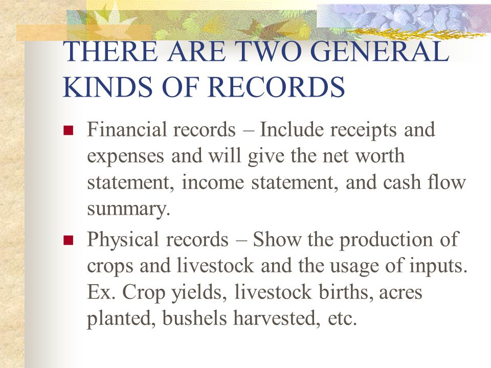 THERE ARE TWO GENERAL KINDS OF RECORDS Financial records – Include receipts and expenses and will give the net worth statement, income statement, and