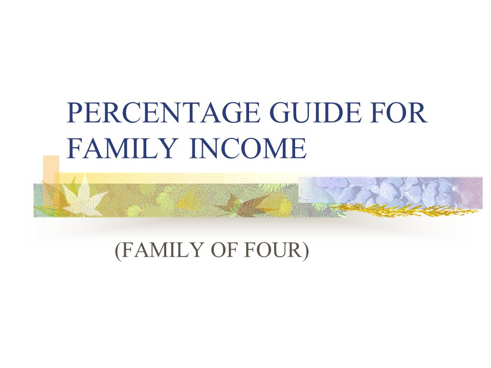 PERCENTAGE GUIDE FOR FAMILY INCOME (FAMILY OF FOUR)