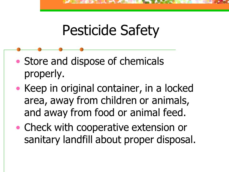 Pesticide Safety Store and dispose of chemicals properly.