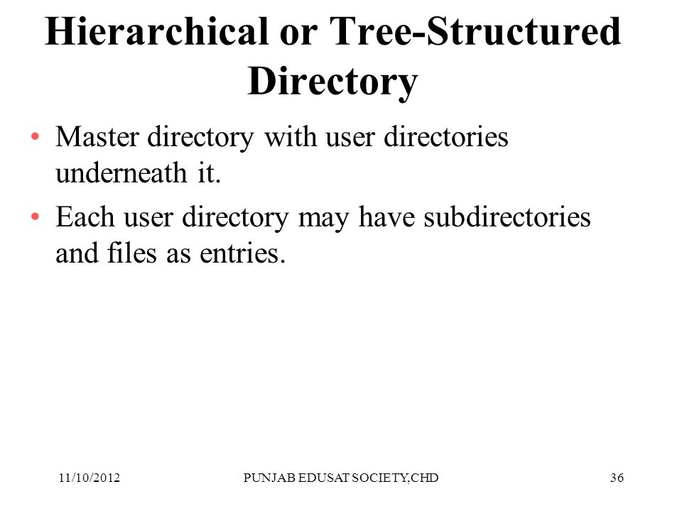 36 Hierarchical or Tree-Structured Directory Master directory with user directories underneath it. Each user directory may have subdirectories and fil
