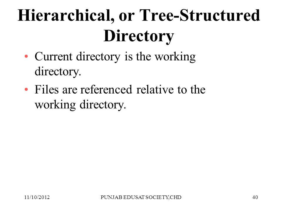 40 Hierarchical, or Tree-Structured Directory Current directory is the working directory. Files are referenced relative to the working directory. 11/1