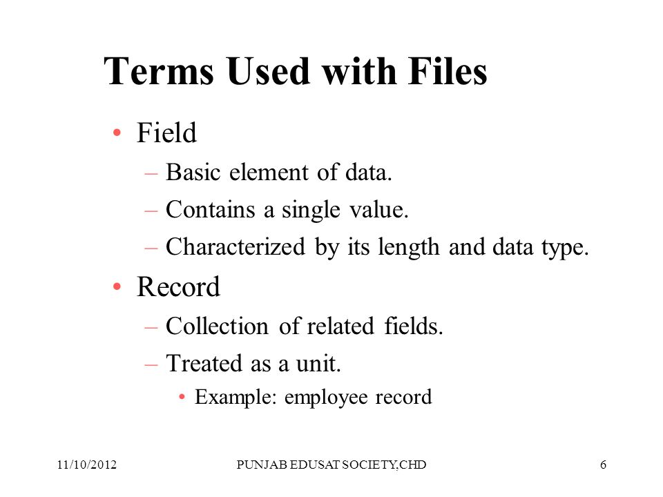 6 Terms Used with Files Field –Basic element of data. –Contains a single value. –Characterized by its length and data type. Record –Collection of rela