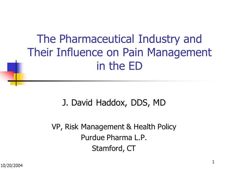 10/20/2004 1 The Pharmaceutical Industry and Their Influence on Pain Management in the ED J.