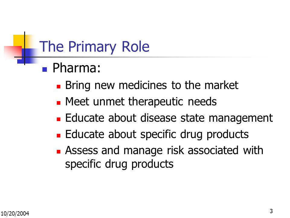 10/20/ The Primary Role Pharma: Bring new medicines to the market Meet unmet therapeutic needs Educate about disease state management Educate about specific drug products Assess and manage risk associated with specific drug products
