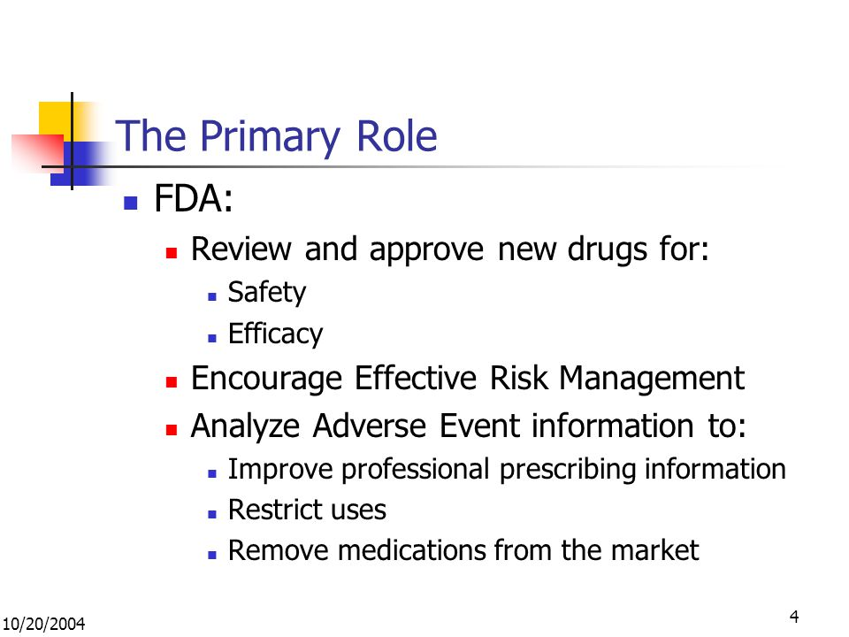 10/20/ The Primary Role FDA: Review and approve new drugs for: Safety Efficacy Encourage Effective Risk Management Analyze Adverse Event information to: Improve professional prescribing information Restrict uses Remove medications from the market