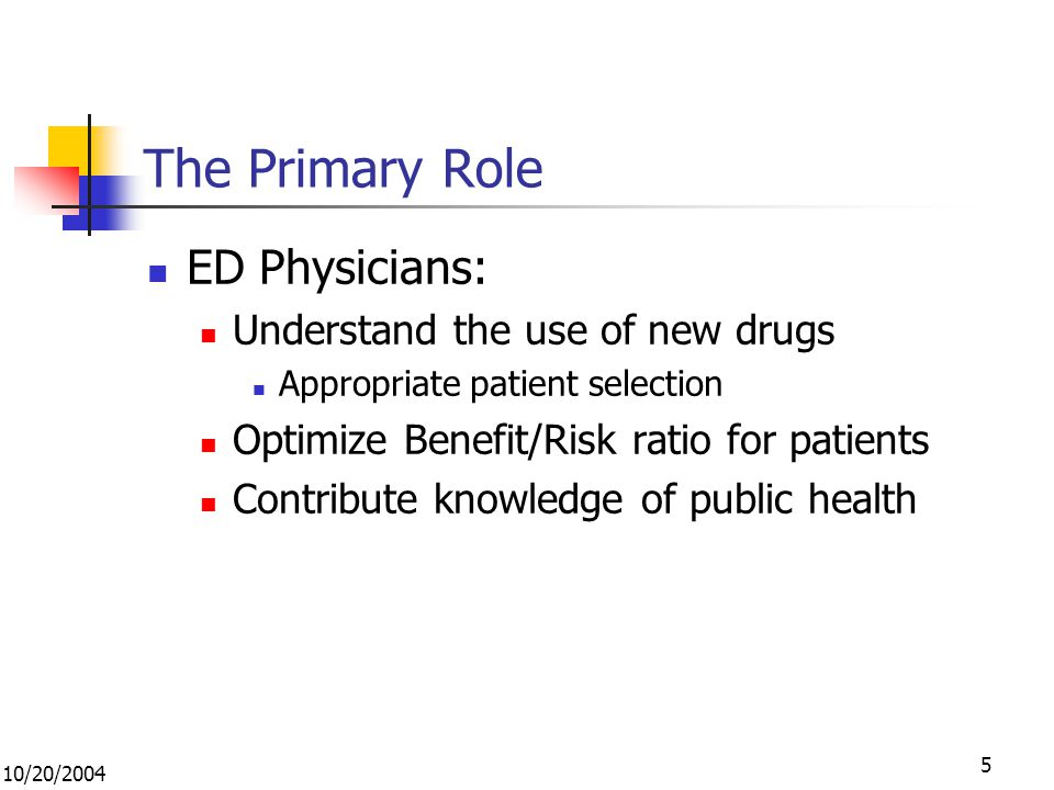 10/20/2004 5 The Primary Role ED Physicians: Understand the use of new drugs Appropriate patient selection Optimize Benefit/Risk ratio for patients Contribute knowledge of public health