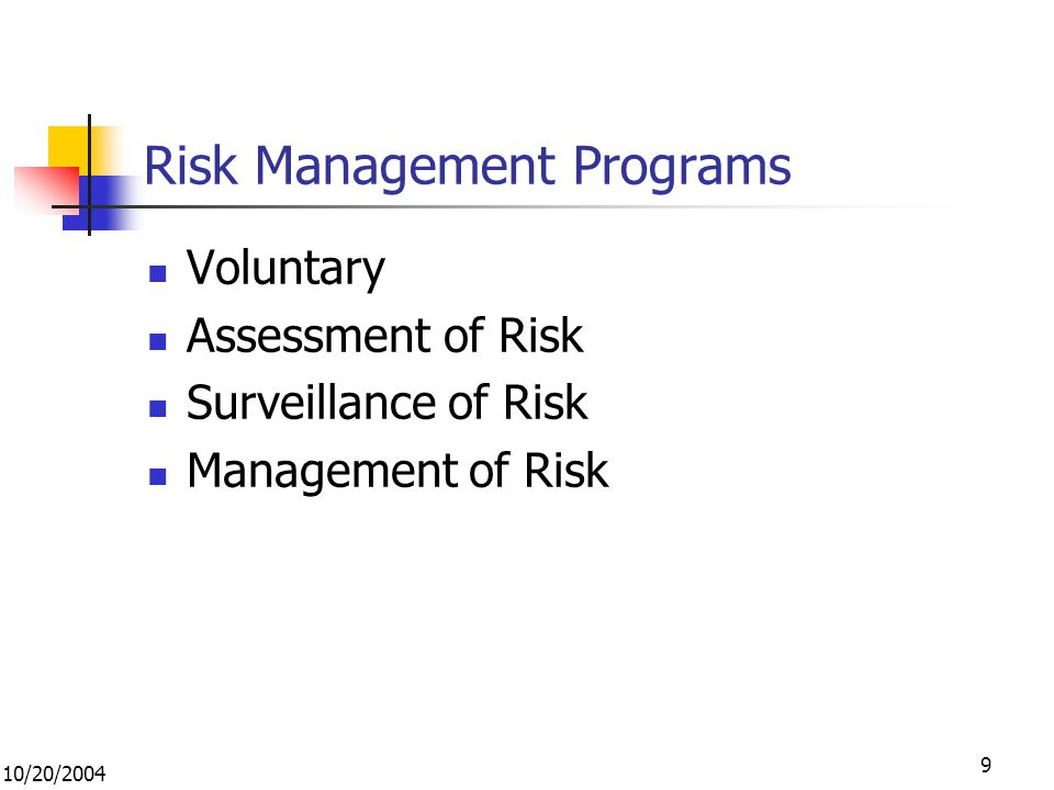 10/20/2004 9 Risk Management Programs Voluntary Assessment of Risk Surveillance of Risk Management of Risk
