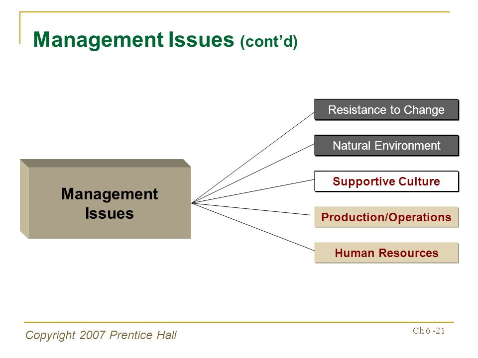 Copyright 2007 Prentice Hall Ch 6 -21 Management Issues (contd) Management Issues Supportive Culture Production/Operations Human Resources Resistance