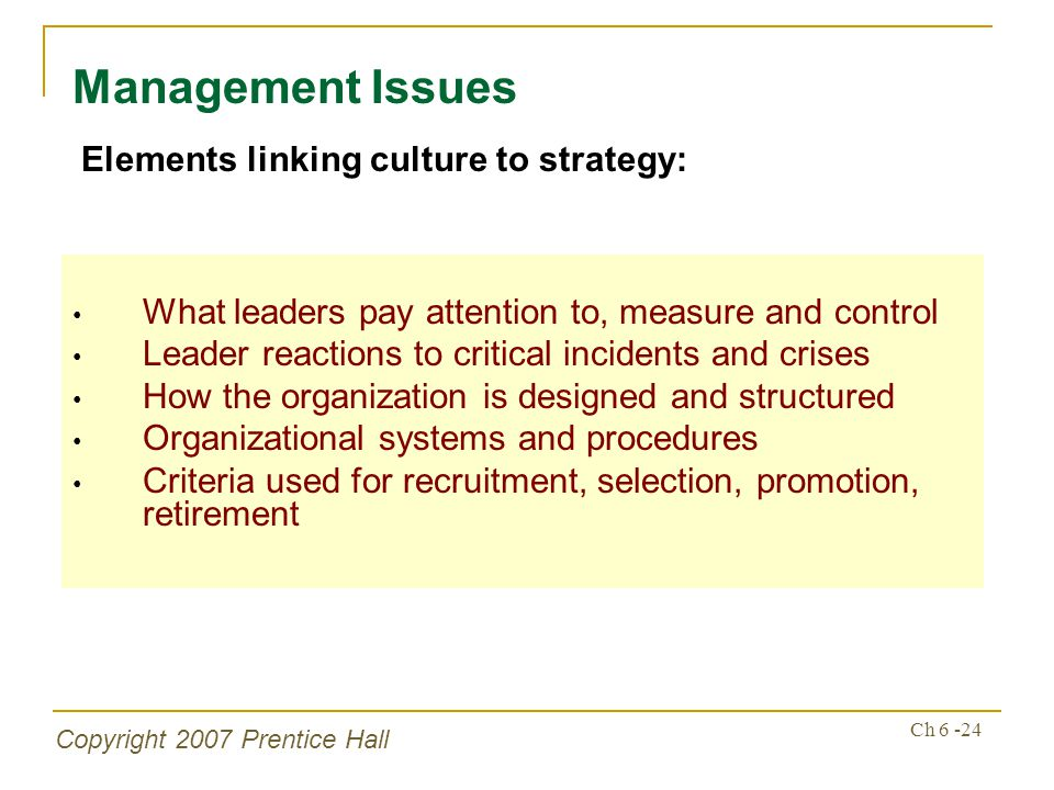 Copyright 2007 Prentice Hall Ch 6 -24 What leaders pay attention to, measure and control Leader reactions to critical incidents and crises How the organization is designed and structured Organizational systems and procedures Criteria used for recruitment, selection, promotion, retirement Management Issues Elements linking culture to strategy: