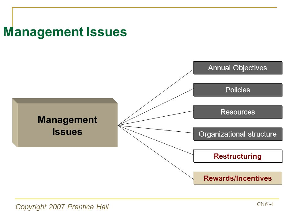 Copyright 2007 Prentice Hall Ch 6 -4 Management Issues Management Issues Resources Organizational structure Restructuring Rewards/Incentives Annual Objectives Policies