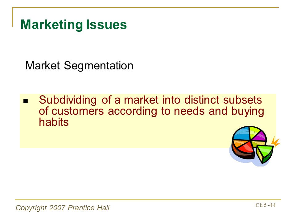 Copyright 2007 Prentice Hall Ch 6 -44 Subdividing of a market into distinct subsets of customers according to needs and buying habits Marketing Issues Market Segmentation