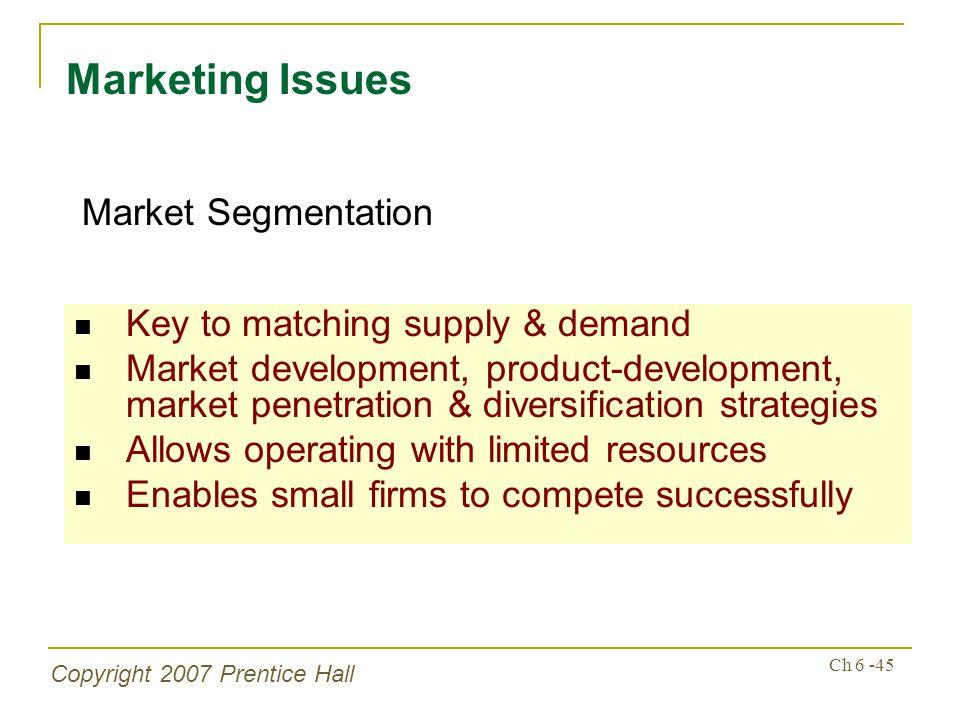 Copyright 2007 Prentice Hall Ch 6 -45 Key to matching supply & demand Market development, product-development, market penetration & diversification st