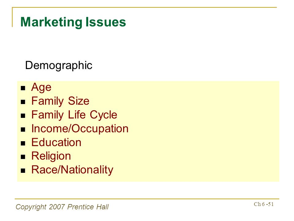 Copyright 2007 Prentice Hall Ch 6 -51 Age Family Size Family Life Cycle Income/Occupation Education Religion Race/Nationality Marketing Issues Demographic