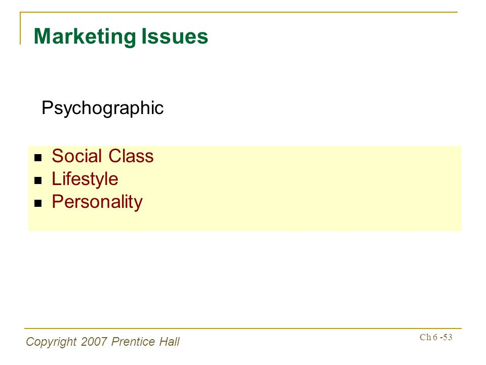 Copyright 2007 Prentice Hall Ch 6 -53 Social Class Lifestyle Personality Marketing Issues Psychographic