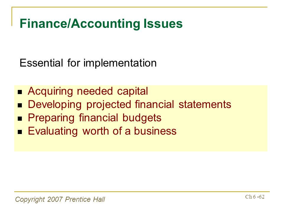 Copyright 2007 Prentice Hall Ch 6 -62 Acquiring needed capital Developing projected financial statements Preparing financial budgets Evaluating worth