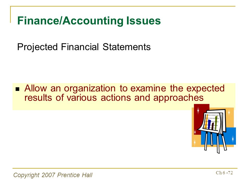 Copyright 2007 Prentice Hall Ch 6 -72 Allow an organization to examine the expected results of various actions and approaches Finance/Accounting Issues Projected Financial Statements